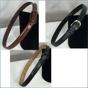 SALE!! 3 Leather Belts Black Navy Brown All Large
